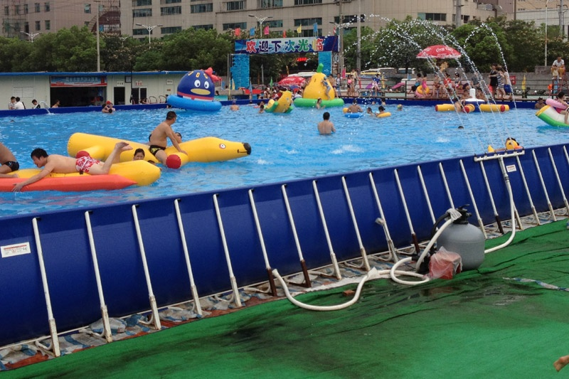 Rectangle Above Ground Movable Metal Frame Swimming Poolsnflatables ...
