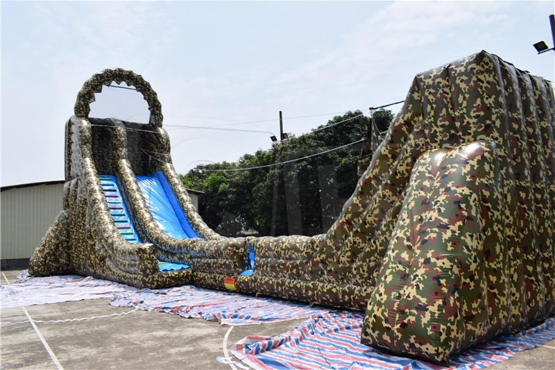 Giant camouflage single lane inflatable amazon zip line zipline sliding